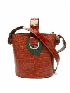 Ganni - Crocodile-effect Leather Shoulder Bag - Womens - Tan Multi