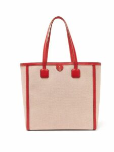 Mark Cross - Antibes Large Leather-trimmed Canvas Tote - Womens - Red Multi