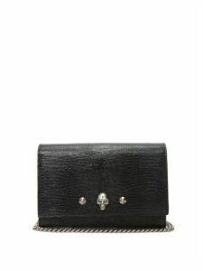 Alexander Mcqueen - Skull Lizard-effect Leather Clutch Bag - Womens - Black