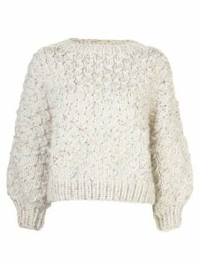 I Love Mr Mittens chunky knit square neck sweater - White