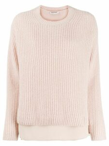 Agnona layered ribbed-knit jumper - PINK