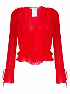 Marco De Vincenzo pleated ruffled blouse - Red