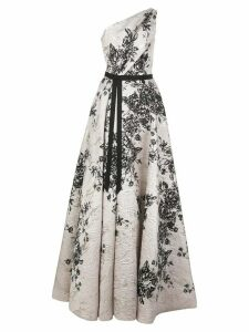Marchesa Notte floral print one shoulder dress - White