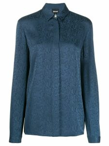 Just Cavalli snakeskin-jacquard shirt - Blue