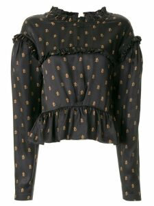Preen By Thornton Bregazzi monogram print ruffled blouse - Blue