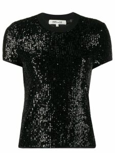 DVF Diane von Furstenberg short-sleeved sequin T-shirt - Black