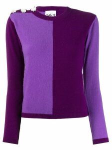 GANNI colour block jumper - PURPLE