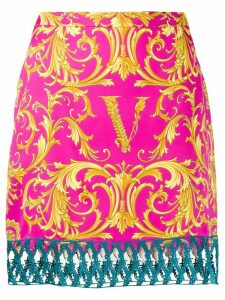 Versace V Barocco print straight skirt - PINK