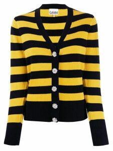 GANNI block stripe cardigan - Black