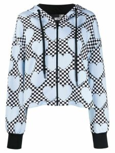 Love Moschino check heart print zipped hoodie - White