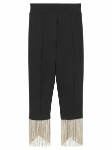 Burberry crystal fringe detail stretch jersey leggings - Black