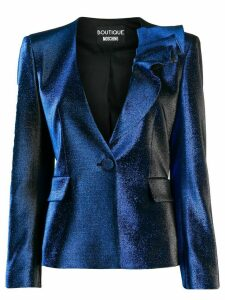 Boutique Moschino metallic-effect fitted jacket - Blue