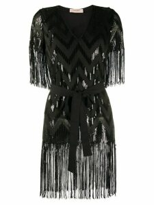 Twin-Set sequin embellished fringed blouse - Black