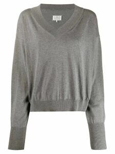 Maison Margiela v-neck boxy sweatshirt - Grey