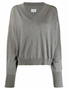 Maison Margiela v-neck boxy sweatshirt - Grey