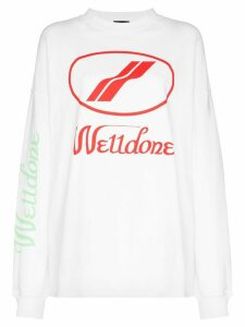 We11done logo print sweatshirt - White
