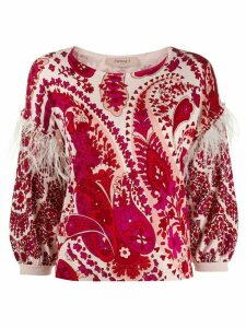 Twin-Set printed feather trim jumper - Red