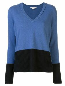 DUFFY colour block V-neck jumper - Blue
