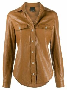 Pinko faux-leather slim-fit shirt - Brown