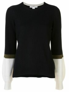 DUFFY contrast-sleeve cashmere jumper - NAVY/OLIVE