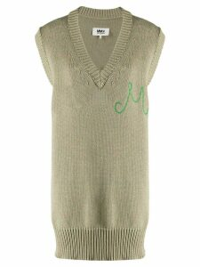 Mm6 Maison Margiela oversized monogram sleeveless jumper - Green