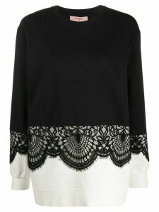 Twin-Set lace trim sweater - Black