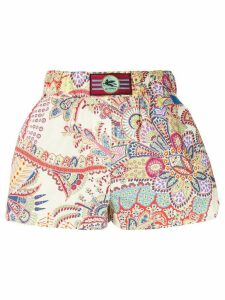 Etro abstract print shorts - White