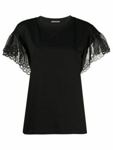 Alberta Ferretti lace-sleeve blouse - Black
