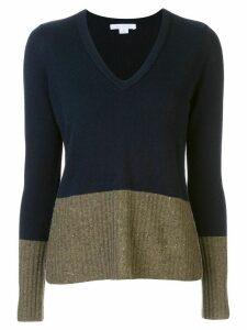 DUFFY colour block V-neck jumper - Black