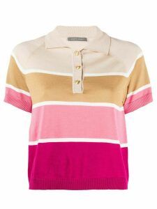 Alberta Ferretti cropped striped polo top - NEUTRALS