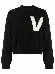 Valentino intarsia-knit V jumper - Black