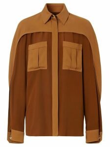 Burberry cape sleeve two-tone shirt - Brown