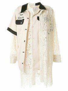 Maison Mihara Yasuhiro lace patchwork shirt - Brown