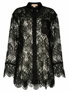 Matériel leavers lace silk shirt - Black