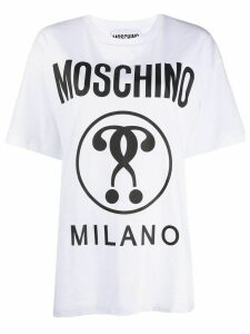 Moschino double question mark print T-shirt - White