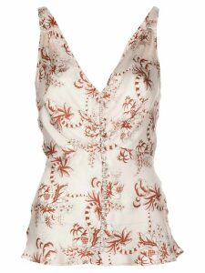 Paco Rabanne V-neck sleeveless printed blouse - PINK