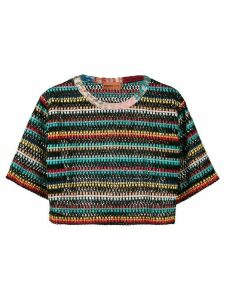 Missoni Mare striped-crochet cropped T-shirt - Black