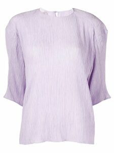 Nina Ricci pleated half sleeves blouse - PURPLE