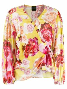 Pinko rose-print wrap blouse