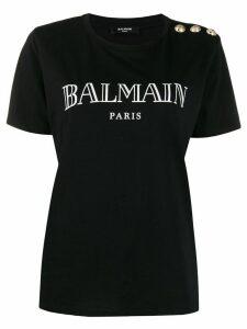 Balmain logo buttoned T-shirt - Black