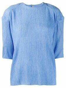Nina Ricci plissé half-sleeve blouse - Blue