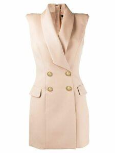 Balmain double-breasted sleeveless dress - NEUTRALS