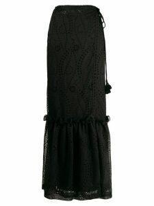 Pinko high-waist eyelet maxi skirt - Black