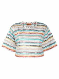 Missoni Mare striped-crochet cropped T-shirt - White