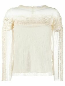 RedValentino point d'esprit tulle blouse - NEUTRALS