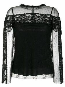 RedValentino point d'esprit tulle blouse - Black