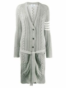 Thom Browne 4-Bar Aran Cable V-Neck Cardigan - Grey