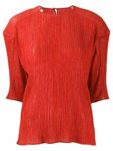 Nina Ricci plissé half-sleeve blouse - Red