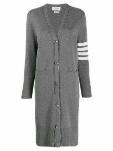 Thom Browne 4-Bar Milano Long V-Neck Cardigan - Grey
