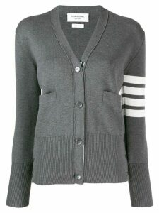 Thom Browne 4-bar milano stitch V-neck cardigan - Grey
